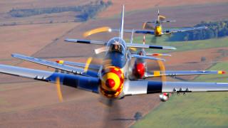 обои для рабочего стола 1920x1080 авиация, лёгкие, одномоторные, самолёты, группа, p-51, mustangs, полёт