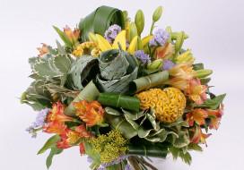 обои для рабочего стола 1850x1295 цветы, букеты, композиции, листья, плетение, лилии, желтый