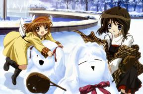 аниме, kanon, снег, девушки