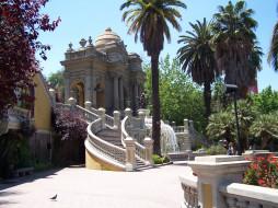 santiago, города, столицы, государств, лестница, пальма, Чили