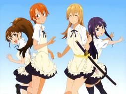 аниме, working, девушки