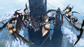 аниме, black, rock, shooter, небо, демоны, девушки