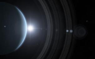 обои для рабочего стола 4000x2500 космос, арт, газовый, гигант, планета, кольца, звезды, солнце