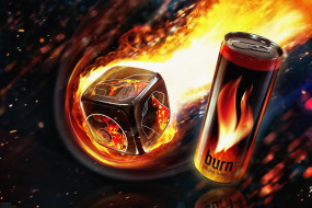 бренды, burn, банка, огонь, энергетический, напиток, кубик