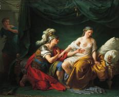 алкивиад, на, коленях, перед, своей, женой, рисованные, louis, jean, francois, lagrenee, римлянин