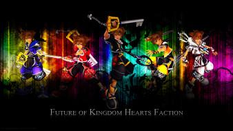 аниме, kingdom, hearts, ключ, оружия, девушки