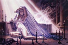 Dorian Cleavenger - Death of a Vampire обои для рабочего стола 2161x1452 dorian, cleavenger, death, of, vampire, фэнтези, девушки, свечи, девушка