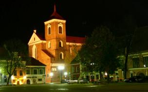 каунас, кафедральный, собор, города, католические, соборы, костелы, аббатства, вечер, город