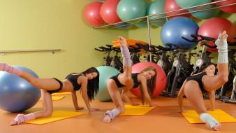 обои для рабочего стола 1920x1080 спорт, гимнастика, растяжка, зал, тренажеры, девушка, тренировка