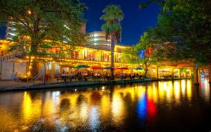 san, antonio, texas, города, огни, ночного, сан-антонио, здания, река, уличное, кафе, деревья