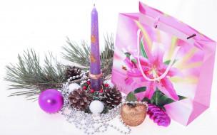 free stock photo Мишура, украшения, елки, свечи.