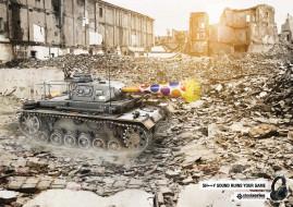 бренды, steelseries, танк, руины, наушники