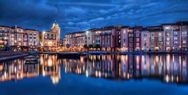 orlando, florida, города, огни, ночного