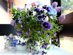 обои для рабочего стола 3200x2400 цветы, букеты, композиции, фиалки, сирень, фигурки, виола, анютины, глазки