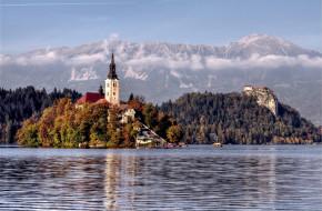 озеро, блед, словения, города, деревья, шпиль, остров