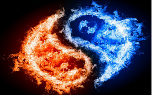 Инь янь 3д графика yin yang янь синий