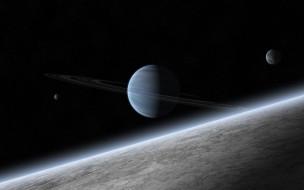обои для рабочего стола 4000x2500 космос, арт, атмосфера, звезды, планета, газовый, гигант, спутники, кольца