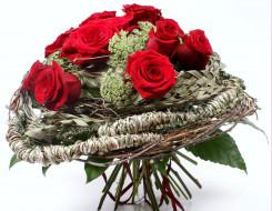 обои для рабочего стола 1700x1319 цветы, букеты, композиции, плетение, красный, зонтики