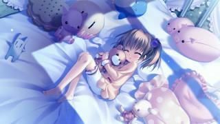 обои для рабочего стола 2048x1152 аниме, *unknown, другое, девочка, игрушки, постель