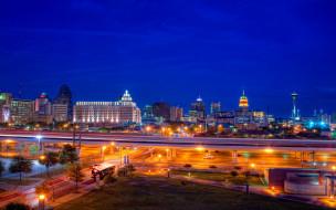города, огни, ночного, дома, san antonio, texas