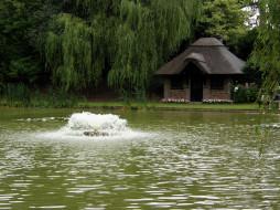 обои для рабочего стола 2000x1500 природа, парк, водоем, фонтан, домик, цветы