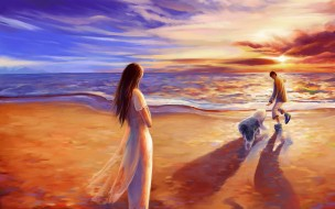 рисованные, люди, закат, море