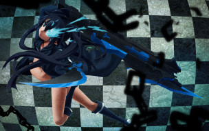 аниме, black, rock, shooter, оружие, девушка, квадратики, цепи, меч