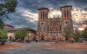 города, католические, соборы, костелы, аббатства, сан-антонио, техас, закат