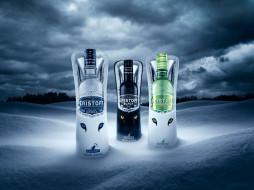 бренды, eristoff, снег, бутылки, водка