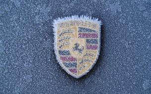 бренды, авто, мото, porsche, логотип, иней, замёрзший, зима