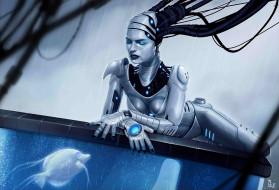 обои для рабочего стола 1920x1308 фэнтези, роботы, киборги, механизмы, рыбка, аквариум, андроид