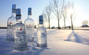 бренды, finlandia, водка, снег, бутылки, зима
