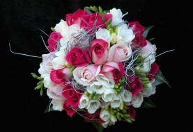 обои для рабочего стола 2000x1372 цветы, букеты, композиции, фрезия, розы