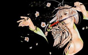 аниме, tenjou, tenge, ветвь, нож, юката, майя, нацумэ, девушка, блондинка, грудь, бутоны