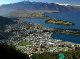 города, панорамы, новая, зеландия, queenstown
