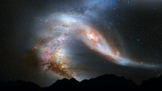 Столкновение галактик обои для рабочего стола 1920x1080 столкновение, галактик, космос, галактики, туманности, черная, катаклизм, бездна
