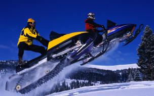 мотоциклы, снегоходы, гора, снег, прчжок