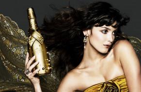 бренды, другое, девушка, бутылка, шампанское