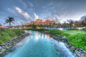 nassau, bahamas, города, пейзажи, багамы, река, камни, пальмы, казино