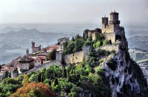 сан, марино, города, столицы, государств, гора, дома, замок, башни