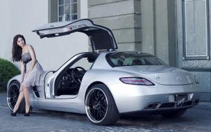 автомобили, авто, девушками, inden, design, mercedes-benz, sls, amg, суперкар, серый, вид, сзади, тюнинг