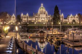 victoria, canada, города, огни, ночного, яхты, ночной, город, пристань, парламент, канада, виктория