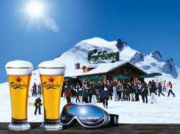 бренды, carlsberg, горы, солнце, очки, бокалы, пиво