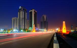города, столицы, государств, дорога, ночь, грозный, Чечня, небоскрёбы, город, россия