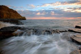 природа, побережье, море, скалы, небо, закат