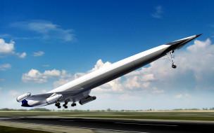 авиация, 3д, рисованые, graphic, самолет, взлет, полоса