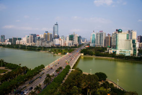 города, панорамы, река, дома, мост, nanning, china, наньнин, китай