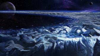 обои для рабочего стола 1920x1080 космос, арт, туманность, путники, ледник, лед, кольцо, планеты, звезды