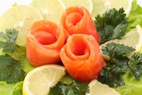 еда, рыба, морепродукты, суши, роллы, сельдерей, лимон, лосось, красная, сёмга