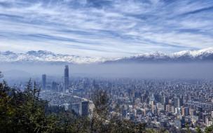 santiago, chile, города, столицы, государств, горы, панорама, Чили, сантьяго